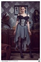 Grey corset dress by Esaikha