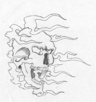 skull with flames by stoned-hippie