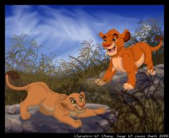Simba and Nala at Play by itara