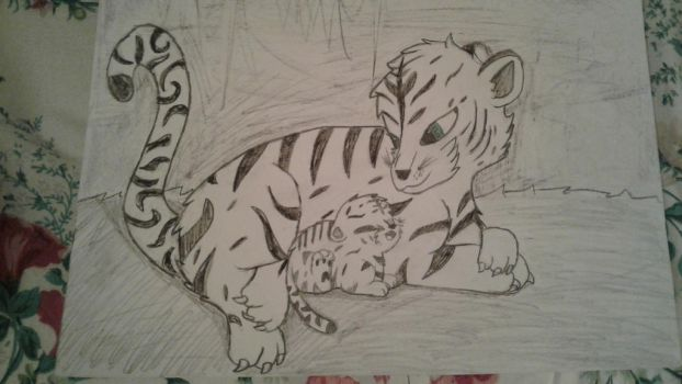 white tiger and cub by theholywolf