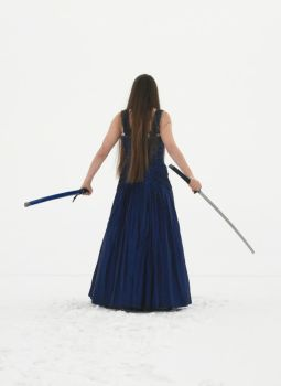 Blue Dress and Sword 05 by Lynnwest-Stock