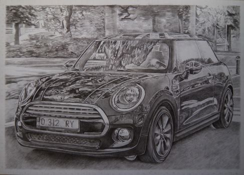 Mini Cooper Pencil Drawing by derry88
