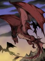 flying red Wyverns by VegaBone