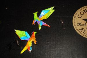 Origami Dragon Earings by SpikeyHairedBeast