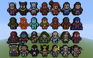 Minecraft 8-bit Alphabets: Marvel Comics by DeadplinkOfTheSand