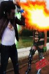 Travis and Holly No more heroes explosion by TsuniBlack
