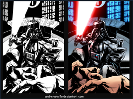 Coloring - Darth Vader Force Choke - Side-by-side by andreranulfo