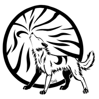 Tribal Howling wolf by Tsukihowl