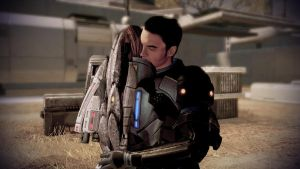 Kaidan Alenko Hugs Shepard - Mass Effect 2 by loraine95