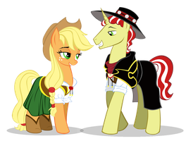 Flim and AppleJack Wild West by MoostarGazer