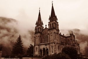 Covadonga in fog by Lynx-Pardina