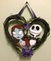 Sally and Jack Nightmare Before Christmas wreath by halloqween