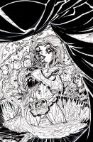 SCATTERED COMICS PIN-UP INKS VAMPIRE by U-D0NT-KN0W-ME
