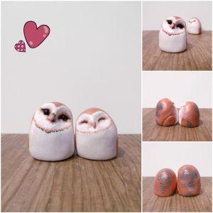 Valentines Day cuddling owls- SOLD by MyselfMasked