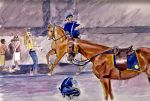 Unhorsed. NYPD Horses Watercolour by 80sdisco