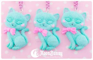 Ice cream kitten (mint) Necklace by CuteMoonbunny