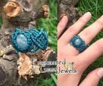 Macrame Aquamarine Ring by AziDahakah