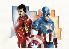 Ironman and Capt by Paul-art