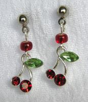 Tiny Cherry Earrings by lavadragon