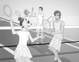 Mixed Doubles Tennis by Plaguedog
