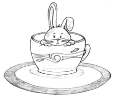 Bunny in a coffee cup by meredith-grey