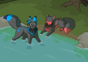 BlueTheWolf - Pups by Miiroku
