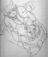 WIP Wolf and Kitty by kittygurl521