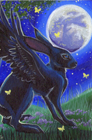 ACEO - The Rabbit In The Moon by DawnUnicorn
