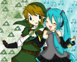 Link and hatsune miku o.o by acua-chan