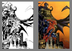 Batman and Spiderman by 9999DamagePoints
