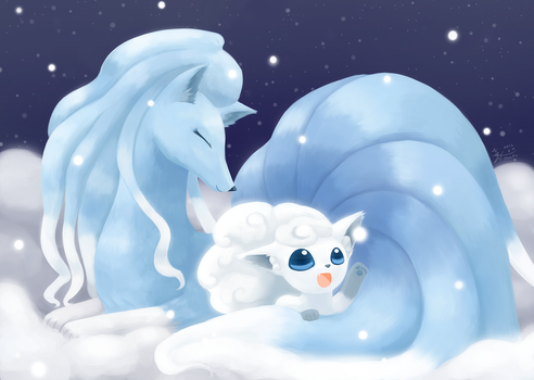 Weekly art#69 Foxes in the snow by HowXu