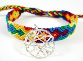 Rainbow Flame Bracelet with Silver Wire Charm by QuietMischief