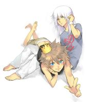 sora and riku by einlee