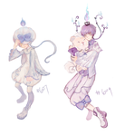 Litwick and Chandelure gijinka by yune-d