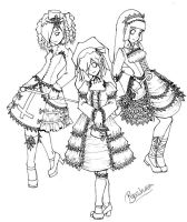 The Three Loli Sisters Lineart by Ryasha