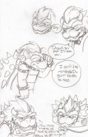 Bowser lineart doodles by Carurisa