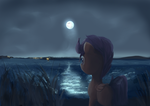 Early winter night - Partially frozen lake by ScootieBloom