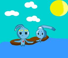 chibi manaphy and phione by WorldTraveler128