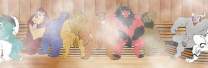 Commission - Beasts in Sauna by BennytheBeast