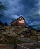 Barn with Flag by BillH-Photo
