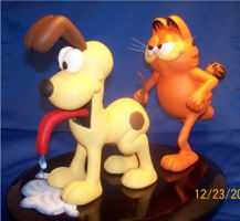 Garfield and Odie Painted 2 by Spanglerart