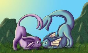 Vaporeon-F and Espeon-M by zeaeevee