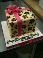 Leopard Print Present Cake by Spudnuts