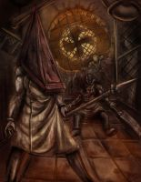 Pyramid Head and  the Butcher by Karosu-Maker