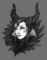 Maleficent digital underpainting by AokiBengal