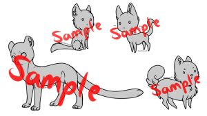 Chibi cat + 1 dog lineart pack by MagicMoonbeams