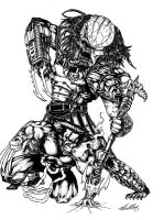Wolverine Vs Predator no-color by HolyUndeezBatman