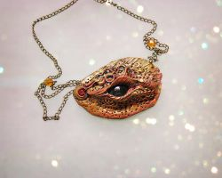 Fire Dragon Eye Necklace by PixiesLot