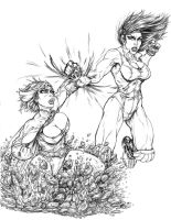 Powergirl vs She-Hulk by toegar