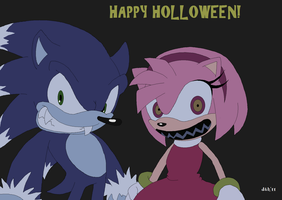 sonamy holloween by Domestic-hedgehog
